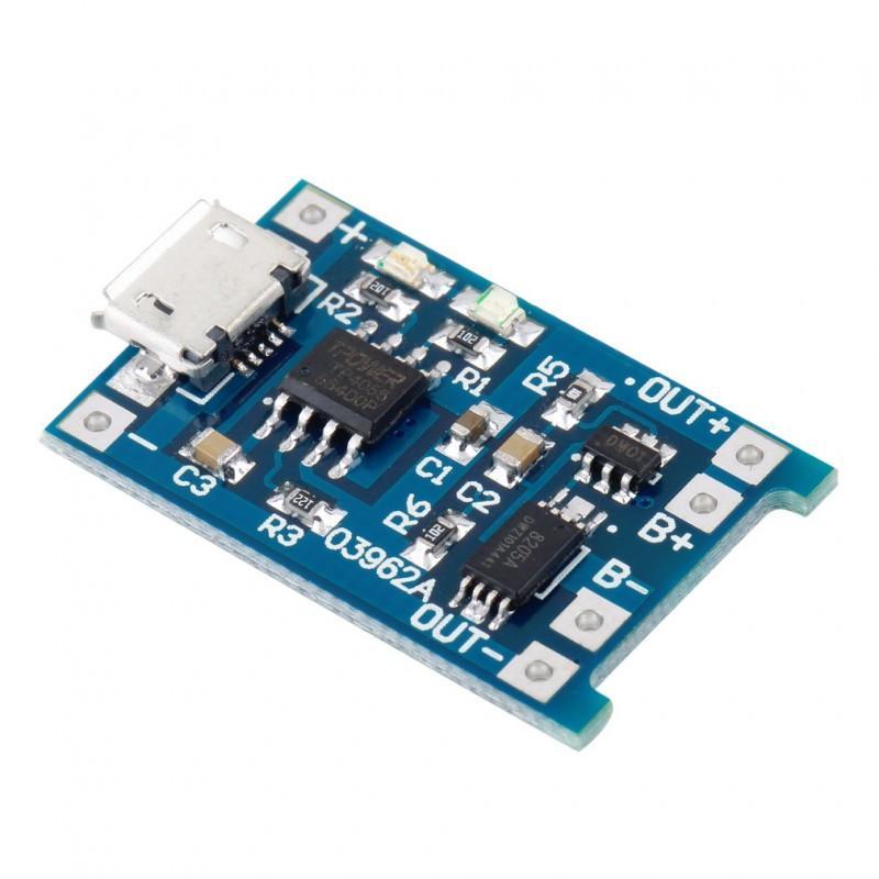 Модуль заряда аккумуляторов TP4056 (с защитой) microUSB / купить в магазине Arduino Pro